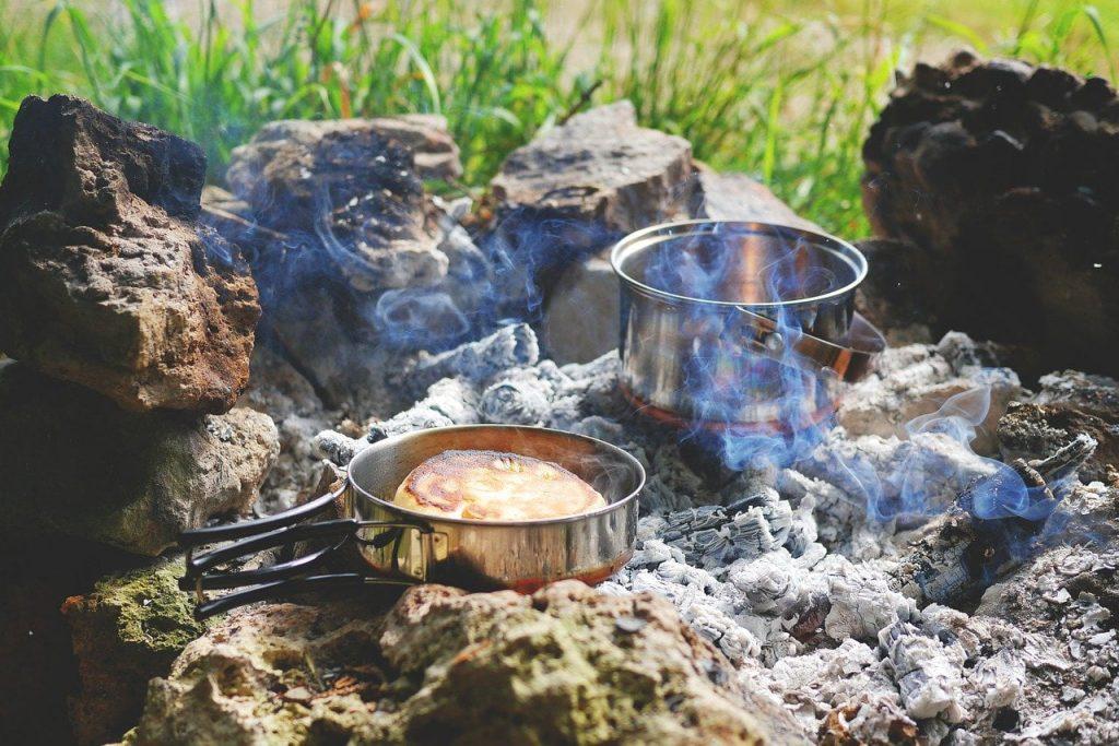 fire, campfire, tent camp