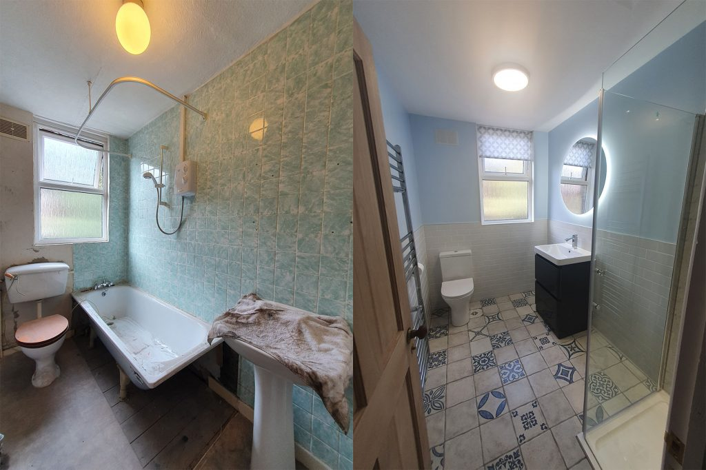 Before and after image of a bathroom smaller refurbishment designed by House Architects